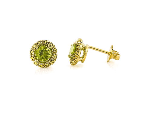 Peridot and Diamond Sunburst 18k Gold Earrings